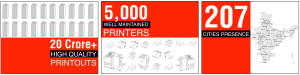 20 Crore plus High Quality Printouts 5000 well Maintained Printers 207 cities presence